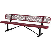 "96""L  Expanded Metal Mesh Bench With Back Rest, Red"