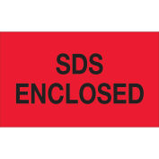 "3""x5"" SDS Enclosed Labels, Fluorescent Red/Black, 500 Per Roll"