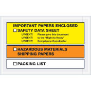 """6-1/2""""x 10"""" Important Papers Enclosed SDS, Full Face Yellow/Orange , 1000 Pack"""