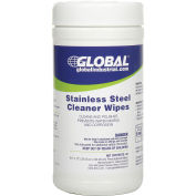Stainless Steel Cleaner Wipes, 40 Wipes/Canister, 6 Canisters/Case