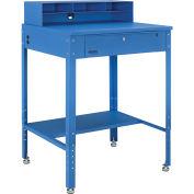 "Flat Top Shop Desk w Pigeonhole Compartments, 34-1/2""W x 30""D x 38 to 42-1/2""H, Blue"