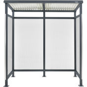 "6'5""W x 3'8""D x 7'H Bus Smoking Shelter Flat Roof with Three Sided Open Front, Gray"