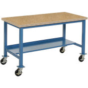 "Mobile Production Workbench, Shop Top Safety Edge, 48""W x 30""D, Blue"