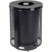 32 Gallon Deluxe Thermoplastic Mesh Receptacle w/Flat Lid & Base, Black