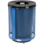 32 Gallon Deluxe Thermoplastic Mesh Receptacle w/Flat Lid & Base, Blue