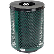 32 Gallon Deluxe Thermoplastic Mesh Receptacle w/Flat Lid & Base, Green