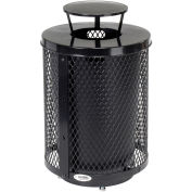 32 Gallon Deluxe Thermoplastic Mesh Receptacle w/Rain Bonnet & Base, Black