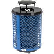 32 Gallon Deluxe Thermoplastic Mesh Receptacle w/Rain Bonnet & Base, Blue