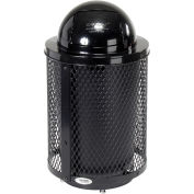32 Gallon Deluxe Thermoplastic Mesh Receptacle w/Dome Lid & Base, Black