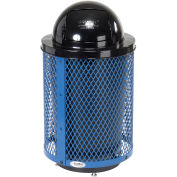 32 Gallon Deluxe Thermoplastic Mesh Receptacle w/Dome Lid & Base, Blue