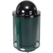 32 Gallon Deluxe Thermoplastic Mesh Receptacle w/Dome Lid & Base, Green