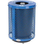 32 Gallon Deluxe Thermoplastic Mesh Recycling Receptacle w/Flat Lid & Base Blue
