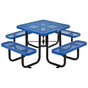 "Expanded Metal Picnic Table, 36"" Square, Blue"