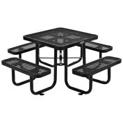 "Expanded Metal Picnic Table, 36"" Square, Black"