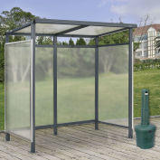 "6'5""x3'8""x7' Bus Smoking Shelter Flat Roof 3-Side Open Front W/Green 5 Gallon Outdoor Ashtray"