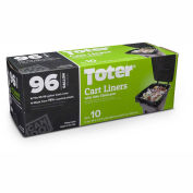 Toter 96 Gallon Cart Liner, 1.1 Mil, Black, 8 Pack