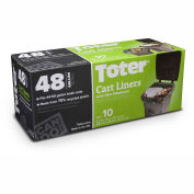 Toter 48 Gallon Cart Liner, 2.0 Mil, Black, 8 Pack