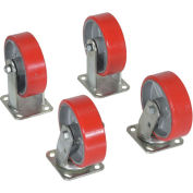 "6"" x 2"" Poly-On-Steel Caster Kit, For Vestil Hopper, 4800 Lb. Cap., Vestil D-CK4-PU6-2"