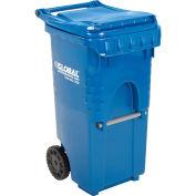35 Gallon Mobile Trash Container, Blue