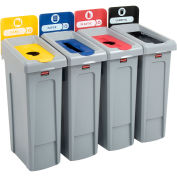 Slim Jim Recycling Station, Landfill/Paper/Plastic/Cans, (4) 23 Gallon