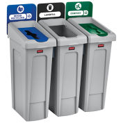 Slim Jim Recycling Station, Landfill/Mixed Recycling/Compost, (3) 23 Gallon