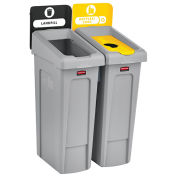 Slim Jim Recycling Station, Landfill/Bottles & Cans, (2) 23 Gallon