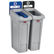 Slim Jim Recycling Station, Landfill/Paper, (2) 23 Gallon