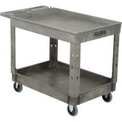 "Plastic 2 Tray Shelf Service & Utility Cart, 44"" x 25-1/2"", 5"" Rubber Casters"