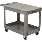 "Plastic 2 Flat Shelf Service & Utility Cart, 44"" x 25-1/2"", 5"" Rubber Caster"