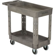 "Plastic 2 Shelf Tray Service & Utility Cart, 38"" x 17-1/2"", 5"" Rubber Casters"