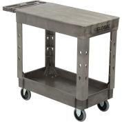 "Plastic 2 Flat Shelf Service & Utility Cart, 38"" x 17-1/2"", 5"" Rubber Casters"