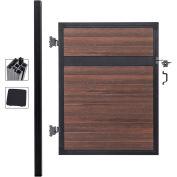 Infinity Euro Estate EF ET1226, Adjustable Single Fence Gate Kit, In Ground, 4'Wx6'H, Black Rose