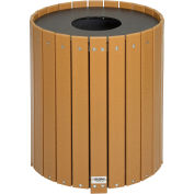 Round Recycled Plastic Receptacle W/ Liner, 32 Gallon, Cedar