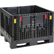 Plastic Folding Bulk Shipping Container, 2000 lb. Capacity, 48 x 44-1/2 x 34