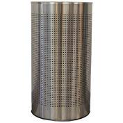 Witt Industries CLHR12-SS 12 Gal. Steel Half Round Waste Receptacle with Liner, Stainless Steel
