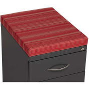 "2 Drawer Box/File Pedestal, Charcoal with Red Cushion Top, 23-3/4""H"