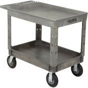 "Plastic 2 Tray Shelf Industrial Strength Service & Utility Cart, 44"" x 25-1/2"", 8"" Pneumatic wheels"