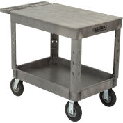 "Plastic 2 Flat Shelf Industrial Strength Service & Utility Cart, 44"" x 25-1/2"", 8"" Pneumatic Wheels"