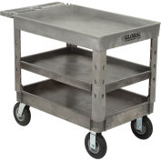 "Plastic 3 Tray Shelf Industrial Strength Service & Utility Cart, 44"" x 25-1/2"", 8"" Pneumatic Wheels"