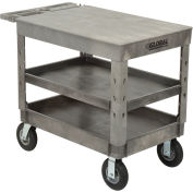 "Plastic 3 Flat Shelf Service & Utility Cart, 44"" x 25-1/2"", 8"" Pneumatic Wheels"
