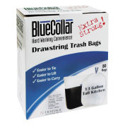 BlueCollar N4828EWRC1 Tall Kitchen Drawstring Trash Bags, White, 13 Gallon, 0.8 Mil, 240/Case