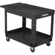 "Industrial Service & Utility Cart, Plastic 2 Tray Black Shelf, 44"" x 25-1/2"", 5"" Rubber Casters"
