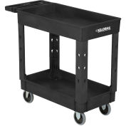 "Industrial Service & Utility Cart, Plastic 2 Shelf Tray Black, 38"" x 17-1/2"", 5"" Rubber Casters"