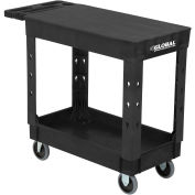 "Industrial Service & Utility Cart, Plastic 2 Shelf Flat Black, 38"" x 17-1/2"", 5"" Rubber Casters"