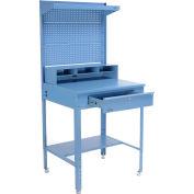 "34-1/2""W x 30""D x 38""H Shop Desk with Pigeonhole Riser, Pegboard, Top Shelf, Flat Surface, Blue"