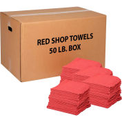 50 Lb. Box 100% Cotton Shop Towels, Red