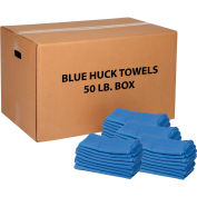 50 Lb. Box 100% Cotton Huck Towels, Blue