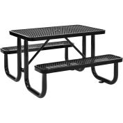 4 ft. Expanded Metal Rectangular Outdoor Steel Picnic Table, Black