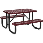 4 ft. Expanded Metal Rectangular Outdoor Steel Picnic Table, Red