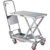 "27-1/2"" x 17-1/2"" Stainless Steel Mobile Scissor Lift Table, 400 Lb. Cap."